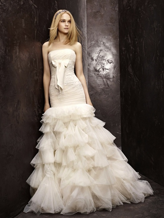 fall 2012 wedding dress White by Vera Wang bridal gowns drop waist strapless vw351086