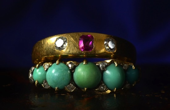 colorful vintage wedding bands gold with pink green