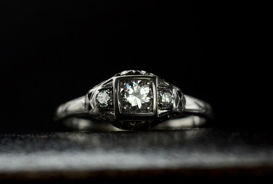 1930s engagement ring transitional cut