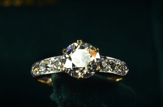 sparkly vintage engagement ring pave diamond band