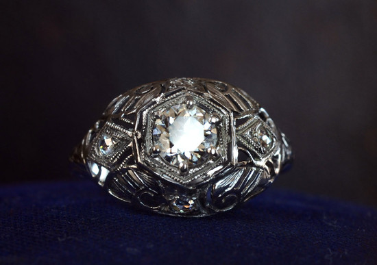 1920s art deco engagement ring bombe shape