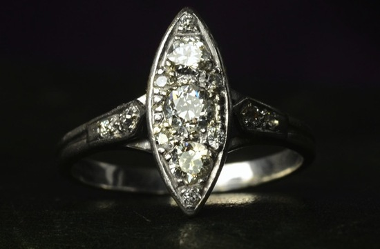 vintage engagement rings unique wedding jewelry 1930s art deco navette cut