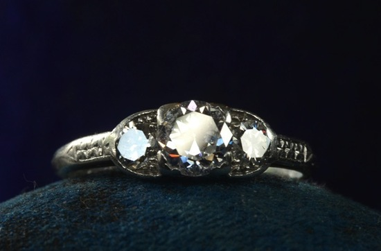 antique engagement rings for vintage brides 1920s 30s art deco 3 stone