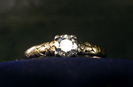 photo of antique engagement rings for vintage brides 1930s european cut yellow gold