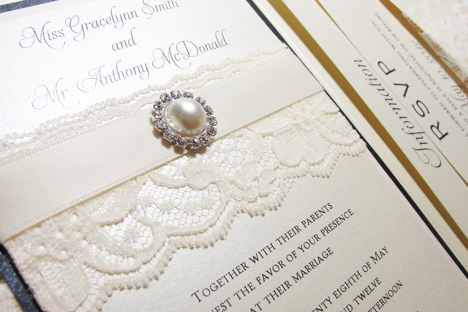 Traditional Elegant Wedding Invitations With Lace Pearls Onewed.com ...