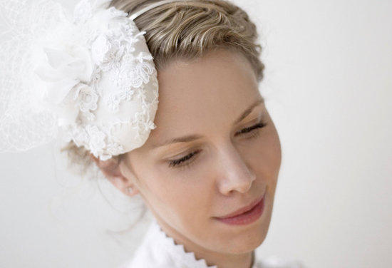 1960s inspired wedding hat lace