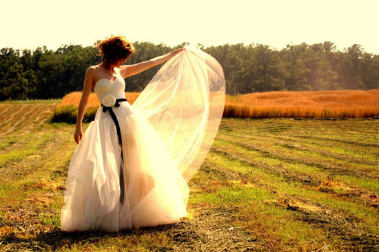 romantic bride wears classic ballgown wedding dress