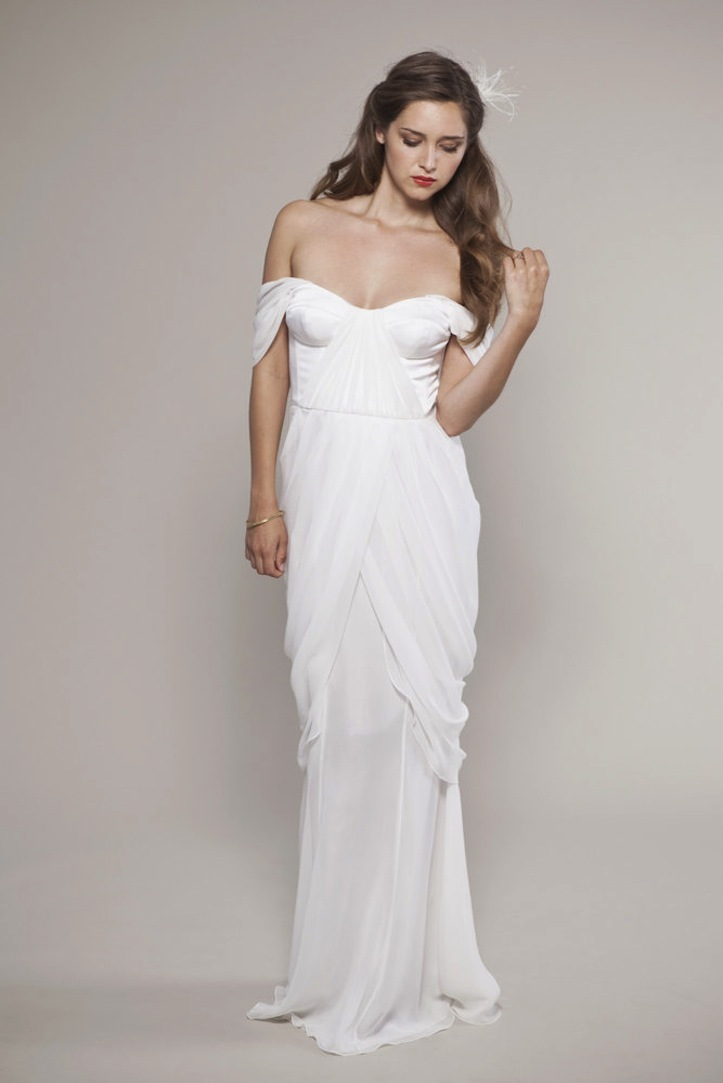 Off the shoulder white wedding dress for Off white dresses for weddings