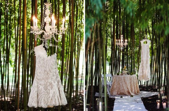 beach wedding ideas lace LWD hangs in forest of bamboo