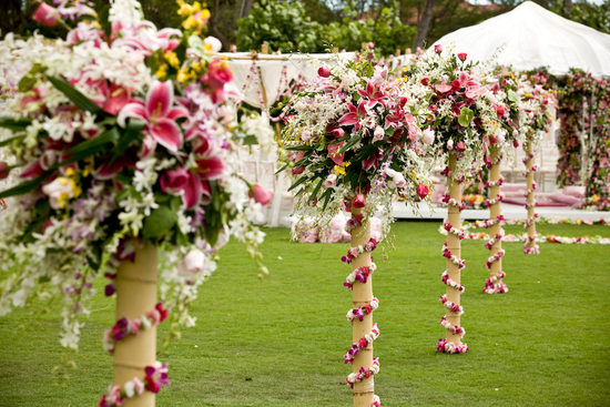 bamboo topiaries for outdoor beach wedding