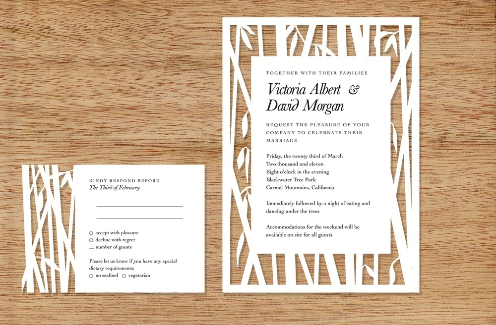 bamboo cutout wedding invitations