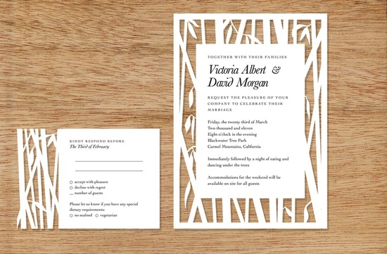bamboo cutout wedding invitations