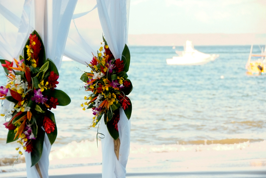 bamboo wedding arbor tropical beach wedding ceremony