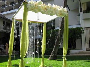photo of bamboo wedding inspiration outdoor ceremony arbor