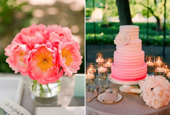 watermelon wedding colors paired with neutrals ombre wedding cake
