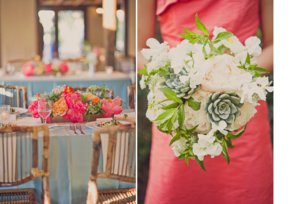 photo of watermelon wedding colors paired with brights tangerine green succulent bridal bouquet