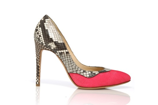 snakeskin wedding shoes with pops of watermelon