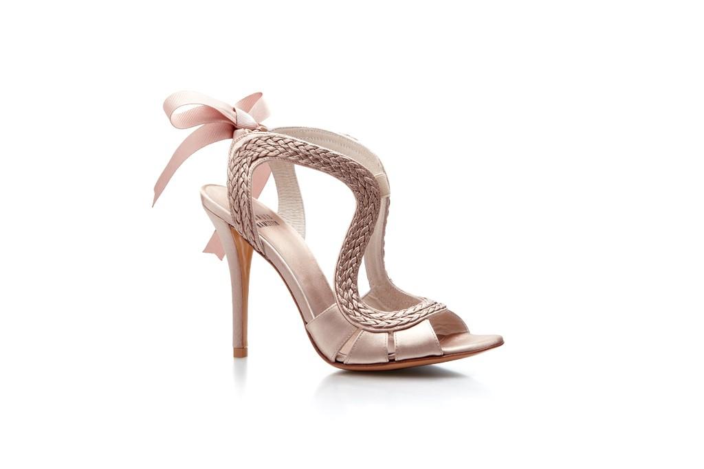 blush pink wedding shoes ribbon tie onewed