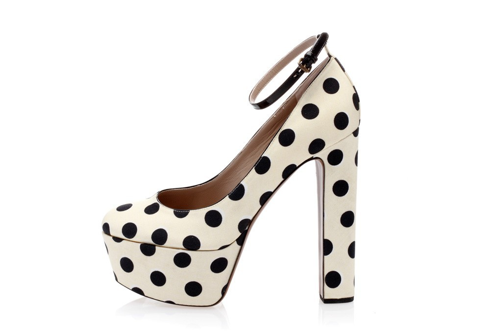 ivory black wedding shoes polka dot