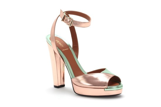 metallic wedding shoes blush pink Fendi