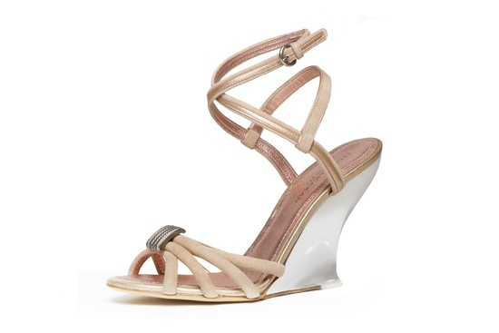 donna karan wedding shoes champagne blush wedges