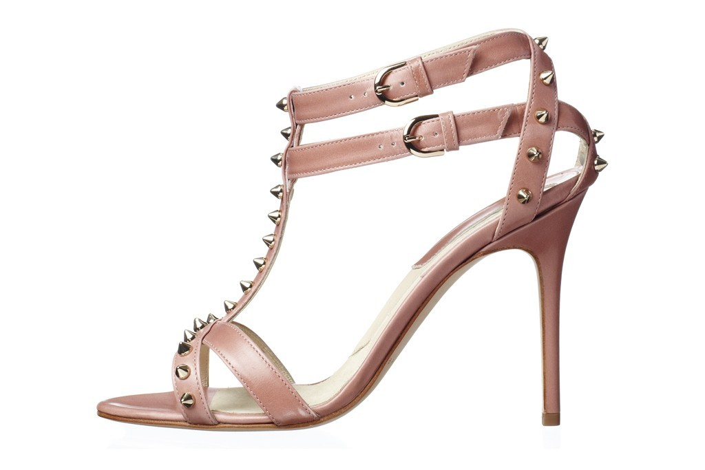 blush pink wedding shoes with studs