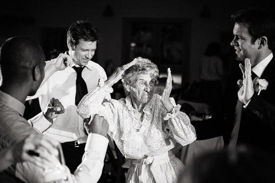 hilarious wedding photo grandma dancing
