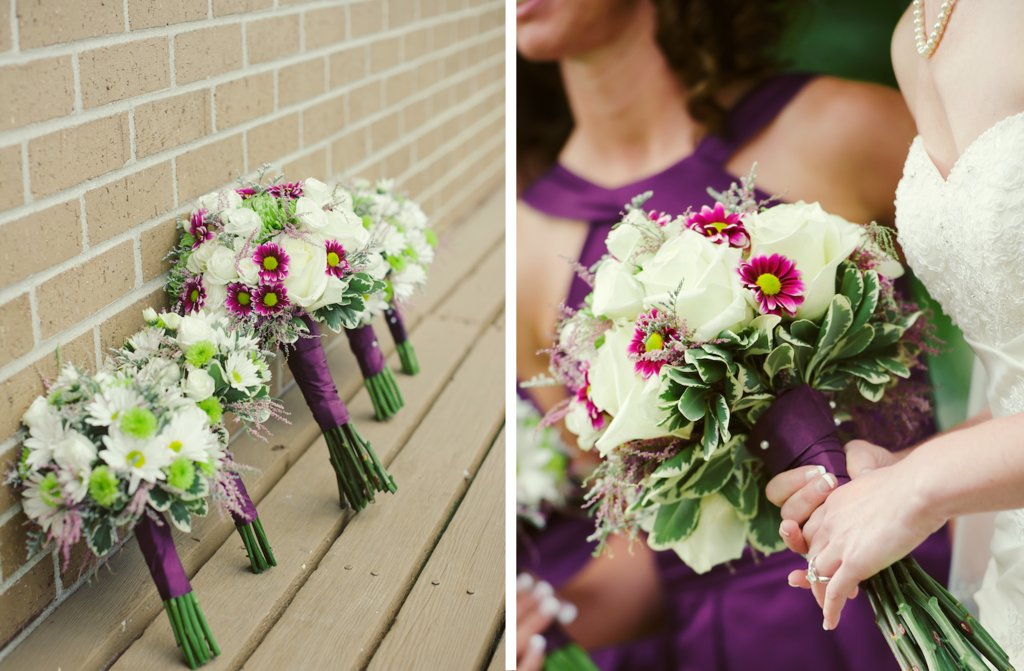 elegant rustic wedding ivory purple bouquets for brides and bridesmaids