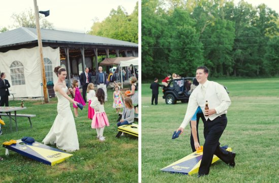 elegant rustic wedding bride groom play lawn games