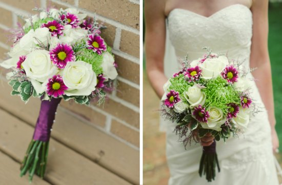 elegant rustic wedding outdoor ceremony bridal bouquet ivory fuschia