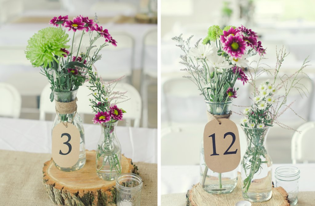 Elegant Rustic Wedding Tent Venue Wildflower Centerpieces