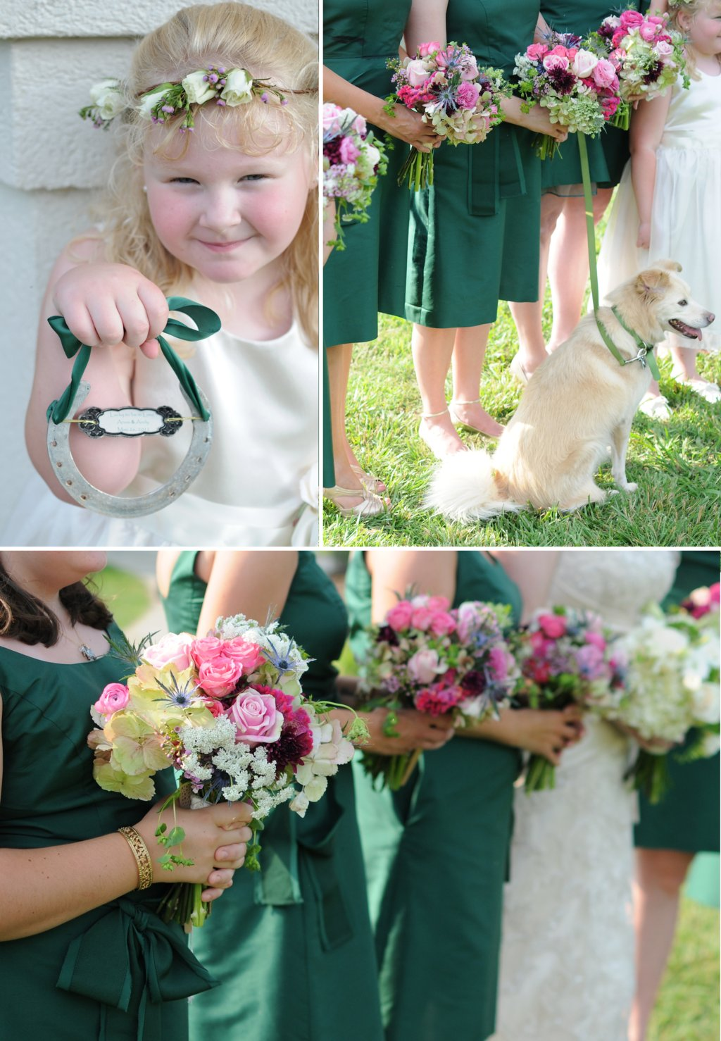 Elegant-outdoor-wedding-forest-green-bridesmaid-dresses-colorful-bouquets-2.full