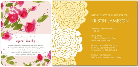 elegant bridal shower invitations roses pink yellow