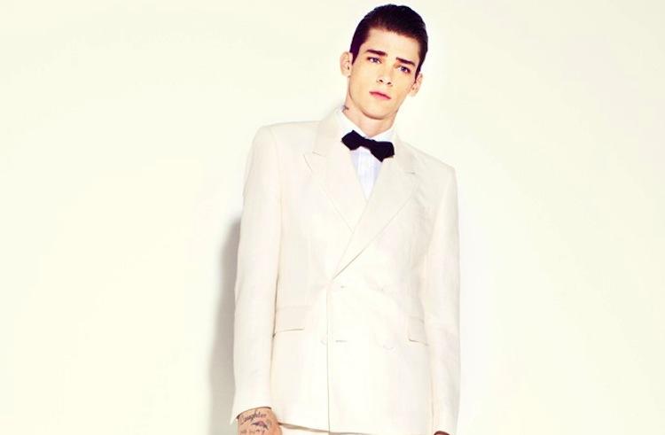 Groom Suit Bow Tie Suit Ivory Black Bow Tie
