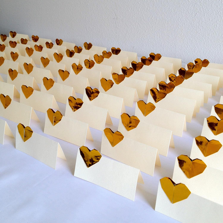 Elegant Gold Ivory Wedding Escort Cards