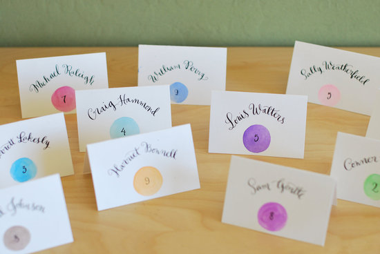 handmade wedding escort cards Etsy wedding stationery calligraphy colorful