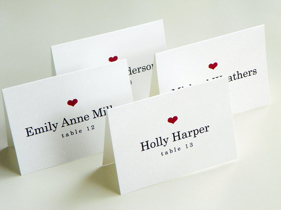 handmade wedding escort cards Etsy wedding stationery love themed