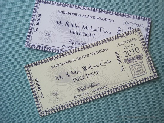 handmade wedding escort cards for vintage weddings tickets