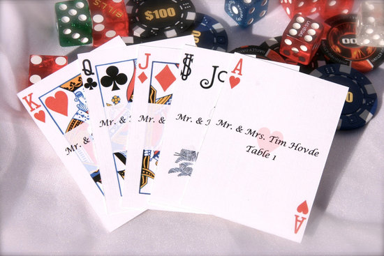 photo of handmade wedding escort cards Etsy wedding stationery poker themed wedding