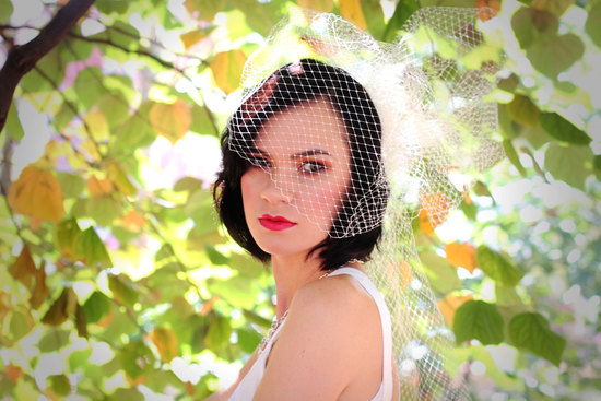 romantic bridal veil French net red lips retro bride