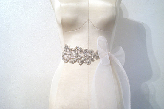 sheer bridal sash with rhinestone beading