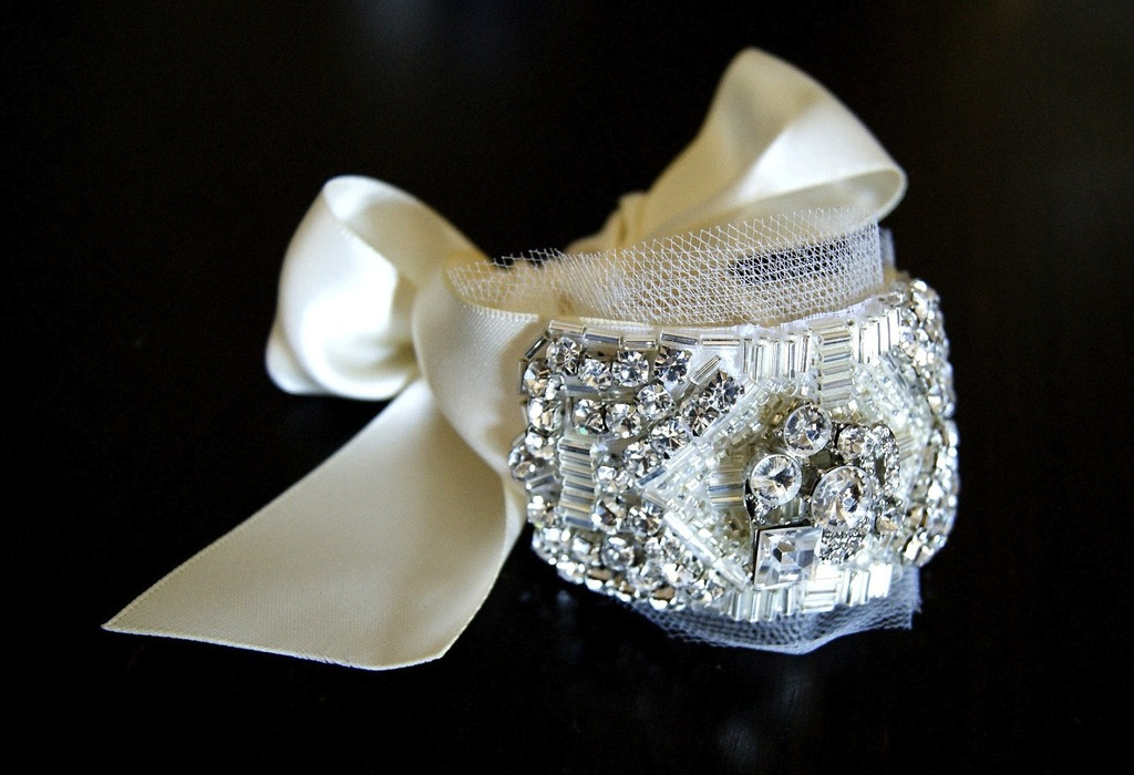 elegant bridal cuff with tulle touches