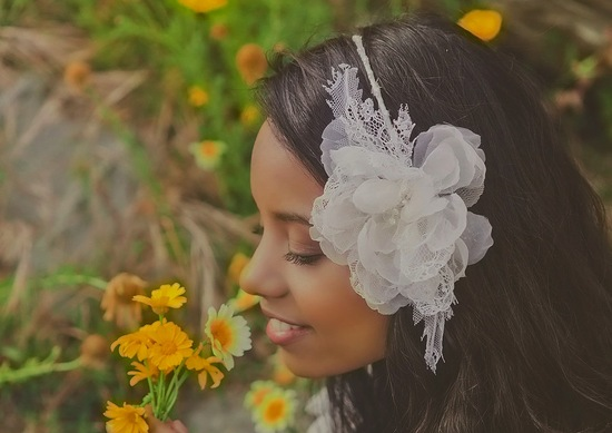 romantic bridal headband for bohemian brides