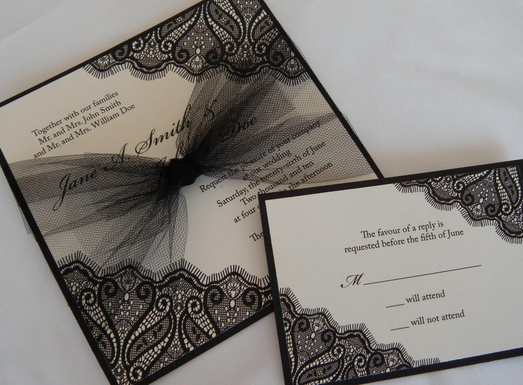 black ivory wedding invitation tulle bow