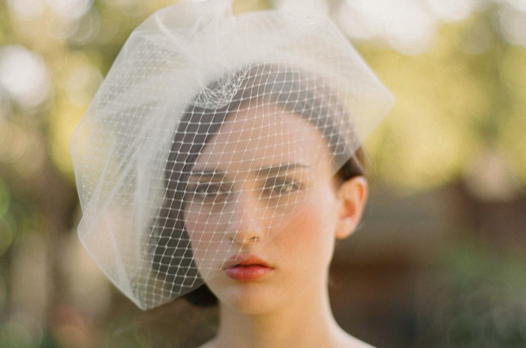 Romantic-bridal-veil-birdcage-layered-tulle-net.full