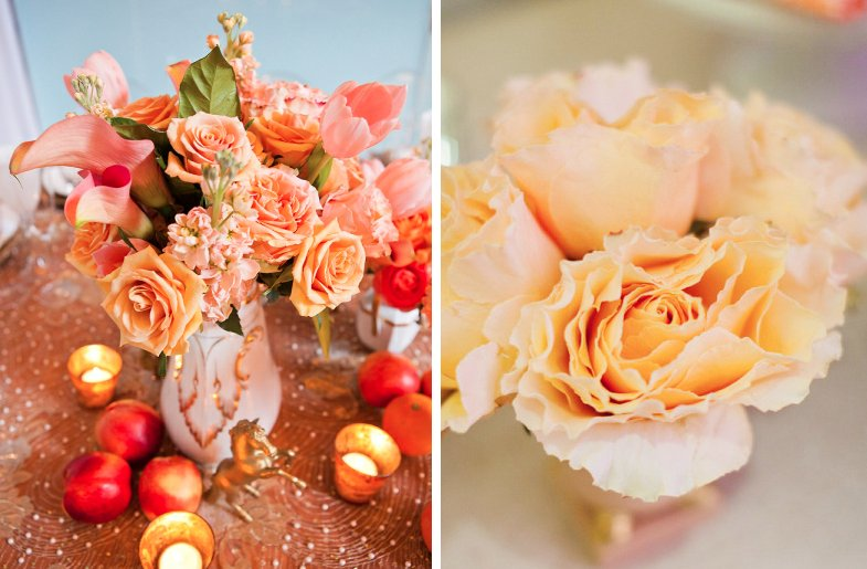 romantic wedding flower inspiration roses peach and gold