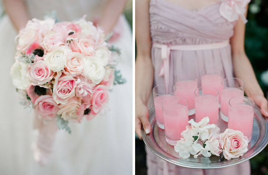 romantic roses wedding flower inspiration light pink ...