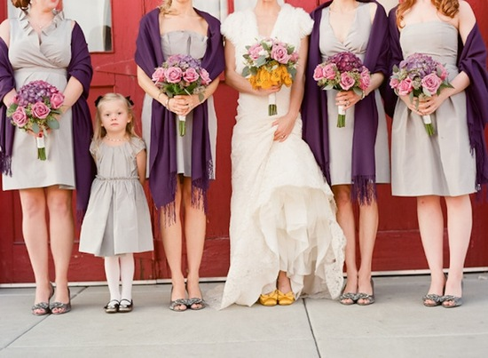 wedding flower inspiration roses bride with bridesmaids