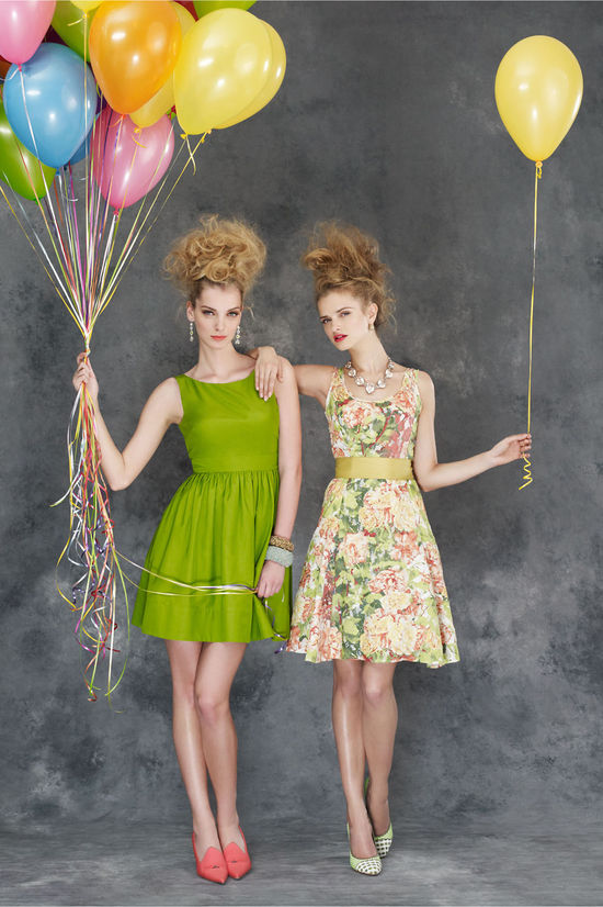bold bridesmaids dresses BHLDN green floral