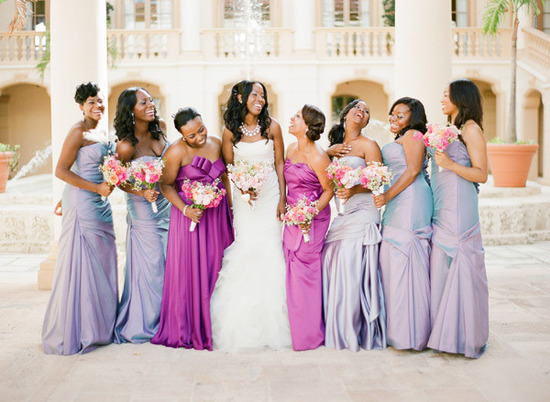 well dressed for bridesmaid wedding fashion guide mix match purples
